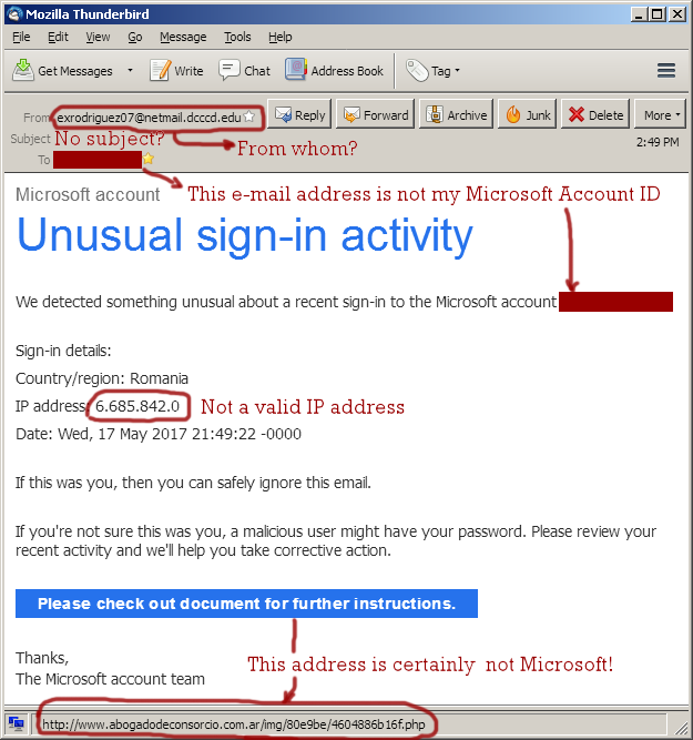 Outlook Unusual sign-in activity